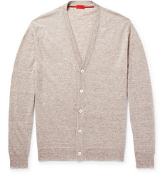 Isaia Mélange Cashmere and Linen-Blend Cardigan