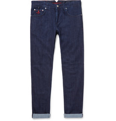 Slim Fit Selvedge Stretch Denim Jeans by Isaia