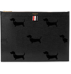 Thom Browne Medium Pebble-Grain Leather Pouch