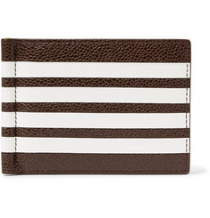 Thom Browne Striped Pebble-Grain Leather Wallet with Money Clip