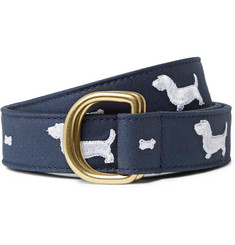 Thom Browne 3cm Embroidered Leather-Trimmed Cotton-Twill Belt