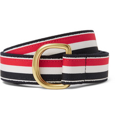 Thom Browne 3cm Leather-Trimmed Grosgrain and Brushed-Twill Belt