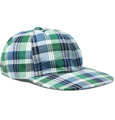 Thom Browne Grosgrain-Trimmed Checked Cotton Baseball Cap