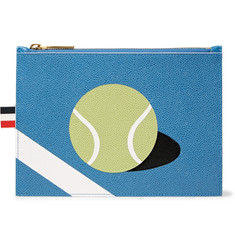 Thom Browne Tennis Ball-Patterned Pebble-Grain Leather Pouch