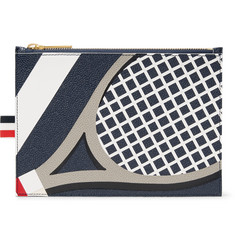 Thom Browne Tennis Racket-Patterned Pebble-Grain Leather Pouch