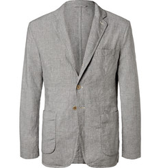 Aspesi Puppytooth Linen and Cotton-Blend Blazer