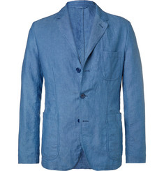 Aspesi Blue Garment Dyed Slub Linen and Cotton-Blend Blazer