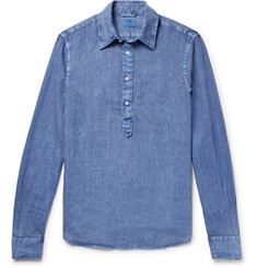 Aspesi Slim-Fit Garment-Dyed Linen Half-Placket Shirt