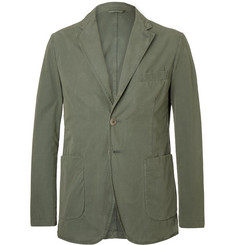 Aspesi Grey-Green Slim-Fit Unstructured Garment-Dyed Cotton Blazer