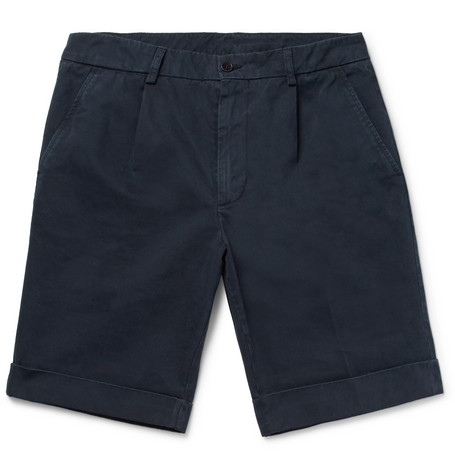 Slim-fit Washed Cotton-twill Chino Shorts - Midnight blue