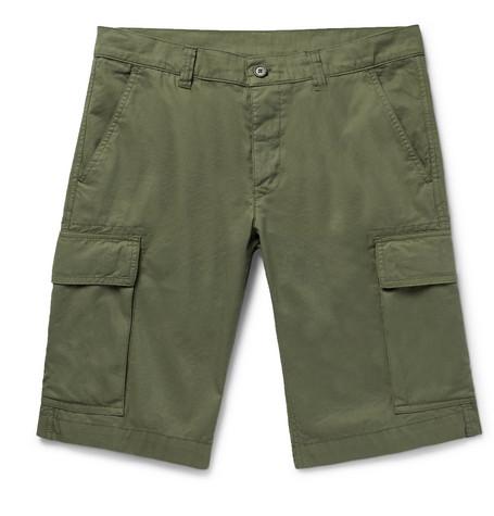 Aspesi Slim-fit Garment-dyed Cotton-twill Cargo Shorts - Army Green