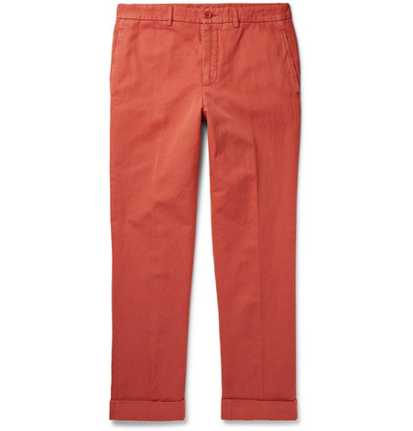 Slim-fit Garment-dyed Cotton And Linen-blend Twill Chinos - Tomato red