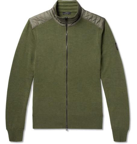 Belstaff Kelby Shell-trimmed Virgin Erino Wool Zip-up Cardigan - Green