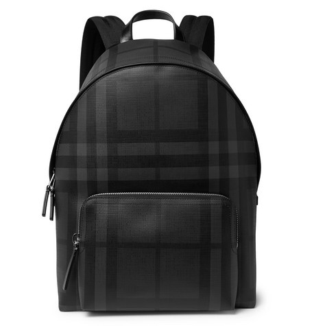 Checked Leather Trimmed Textured Pvc Backpack by Burberry