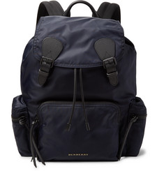 Burberry Cross-Grain Leather-Trimmed Nylon-Gabardine Backpack