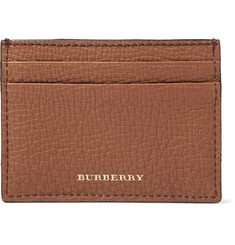 Burberry - Full-Grain Leather and Checked Cotton-Twill Cardholder