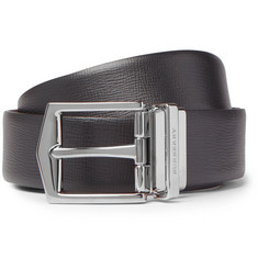 Burberry James 3.5cm Black and Brown Cross-Grain Leather Reversible Belt