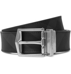 Burberry - 3.5cm Black and Charcoal Reversible Leather and Checked PVC Belt
