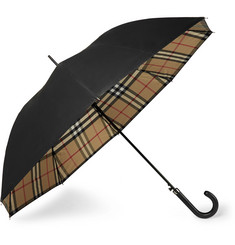 Burberry - Regent Leather-Handle Checked Umbrella