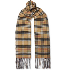 Burberry Reversible Fringed Checked Cashmere Scarf