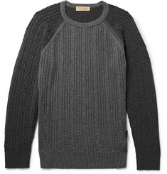 Burberry Slim-Fit Two-Tone Cable-Knit Cashmere Sweater