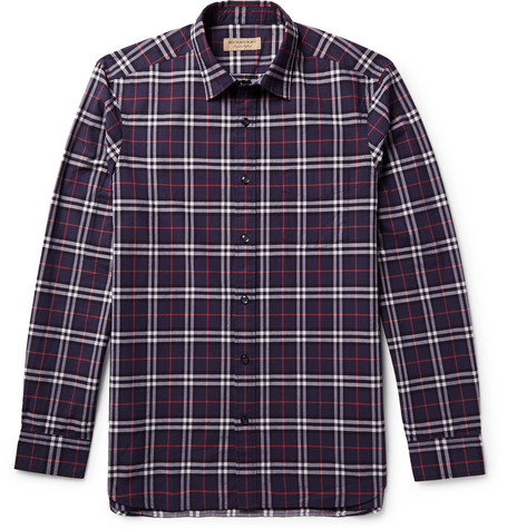 Slim-fit Checked Cotton-poplin Shirt - Navy