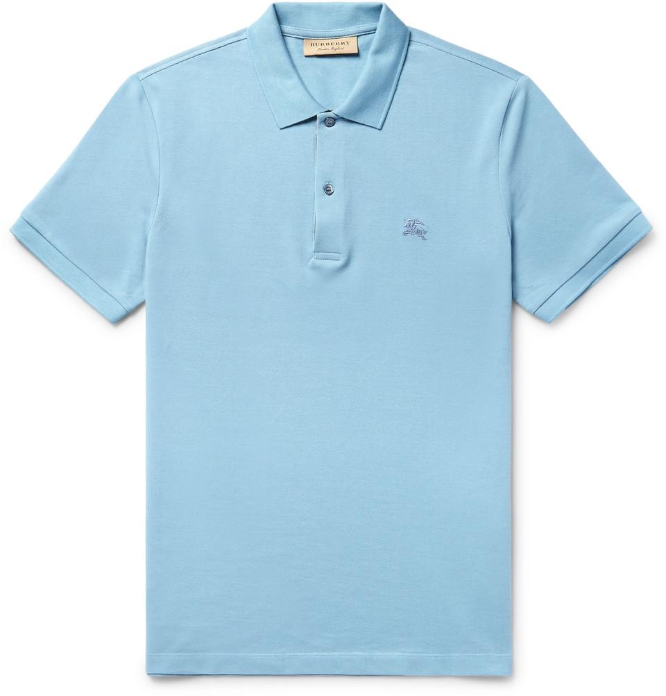Slim-fit Cotton-piqué Polo Shirt - Light blue