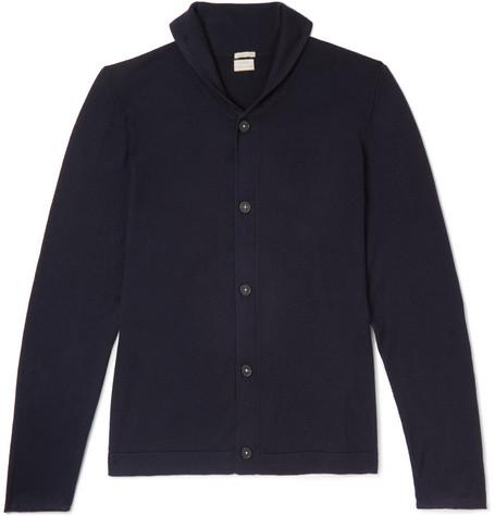 Shawl-collar Cashmere Cardigan - Navy