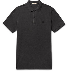 Burberry Slim-Fit Check-Trimmed Cotton-Piqué Polo Shirt