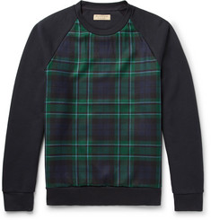 Burberry Black Watch Checked Fleece-Back Cotton-Blend Jersey Sweatshirt