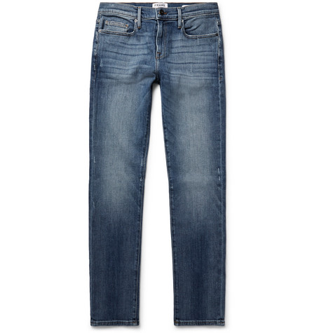 Lhomme Skinny-fit Distressed Stretch-denim Jeans Frame Denim GegimE2wdM