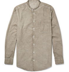 Massimo Alba - Slim-Fit Grandad-Collar Watercolour-Dyed Striped Cotton Shirt