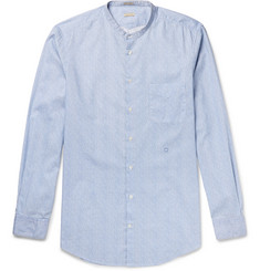Massimo Alba Grandad-Collar Watercolour-Dyed Striped Cotton Shirt