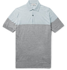 John Smedley - Toller Two-Tone Wool Polo Shirt
