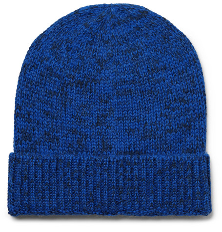 Layover Mélange Baby Alpaca And Organic Cotton-blend Beanie - Cobalt blue