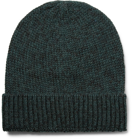 Layover Mélange Baby Alpaca And Organic Cotton-blend Beanie - Dark green