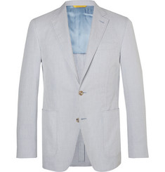 Canali Light-Blue Kei Slim-Fit Unstructured Striped Cotton Blazer