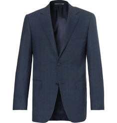 Canali Navy Slim-Fit Checked Wool Blazer