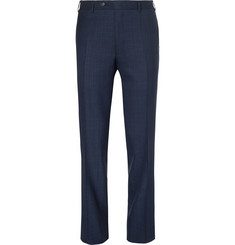 Canali Navy Slim-Fit Checked Wool Trousers