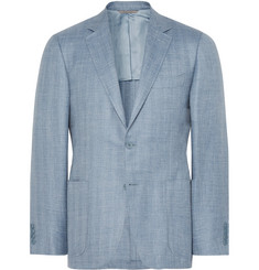 Canali Light-Blue Slim-Fit Herringbone Wool, Silk and Linen-Blend Blazer