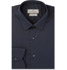 Canali - Navy Slim-Fit Stretch Cotton-Blend Shirt