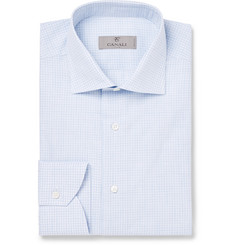Canali - Light-Blue Cutaway-Collar Checked Cotton Shirt