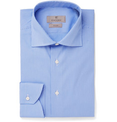 Canali - Blue Cutaway-Collar Puppytooth Stretch Cotton-Blend Shirt
