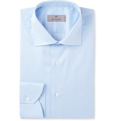 Canali - Blue Cutaway-Collar Striped Cotton Shirt
