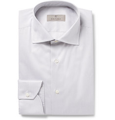 Canali - Grey Cutaway-Collar Striped Cotton Shirt