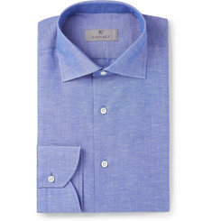 Canali - Blue Slim-Fit Cutaway-Collar Slub Cotton and Linen-Blend Shirt
