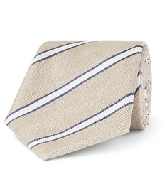 Canali 8cm Striped Linen and Silk-Blend Tie