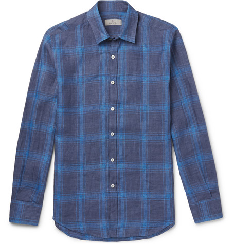 Checked Linen Shirt - Blue