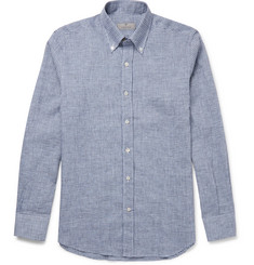 Canali - Button-Down Collar Checked Linen and Cotton-Blend Shirt