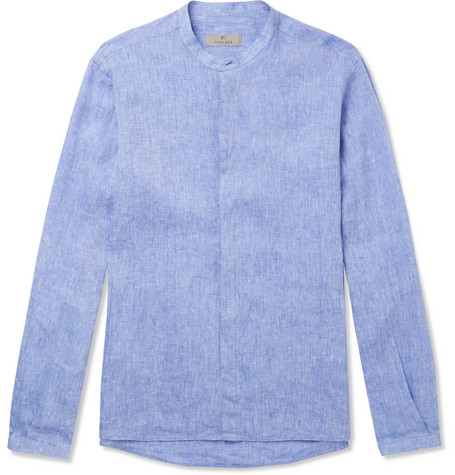 Grandad-collar Linen Shirt - Blue